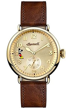 INGERSOLL 1892 Disney Men's The Trenton Union Quartz Watch with Cream Dial and Brown Leather Strap ID01201