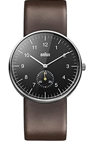 Braun Men's Three Hand Quartz Movement Watch with Black Dial Analogue Display and Leather Strap