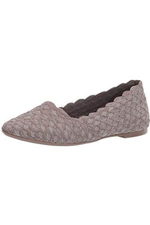 Skechers Women's Cleo - Honeycomb Closed Toe Ballet, (Dark Taupe Flat Knit Dktp)