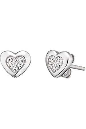 Herzengel Heart Ear Studs for Girls 925-Sterling Rhodium Plated studded with 12 White Zirconia Size 7 mm
