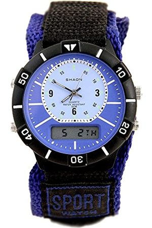 SHAON Men's Quartz Watch with Black Dial Analogue Digital Display and Nylon Strap 42–6905–99