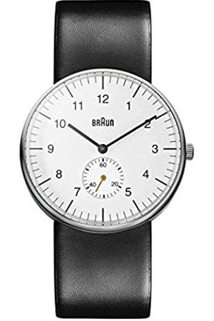 von Braun Three Hand Quartz Movement Watch with Dial Analogue Display and Black Leather Strap BN0024WHBKG