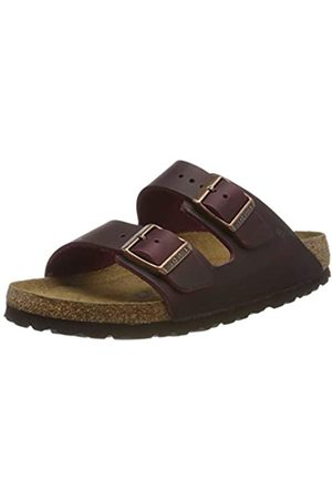 Birkenstock Women's Arizona SFB Greased Leather Open Toe Sandals, (Zinfandel Zinfandel)