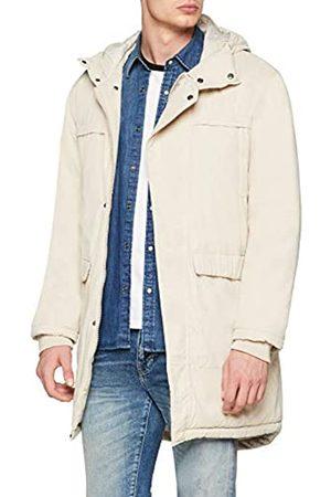Urban classics Men's Canvas Parka Jacket with Adjustable Hoodie, Long Winter Coat, Cotton Peached, Regular Fit, Size: Medium