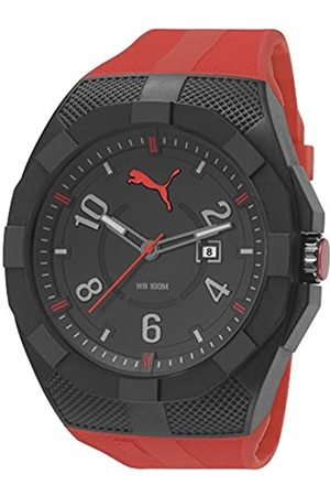 Puma Iconic Men's Quartz Watch with Black Dial Analogue Display and Plastic Strap