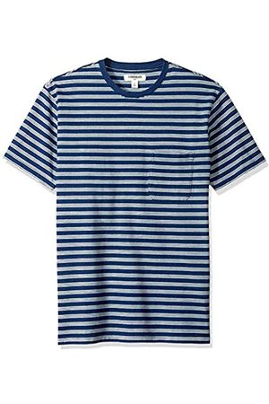 Goodthreads Men's Short-Sleeve Indigo Crewneck Pocket T-Shirt, Dark Triple Stripe