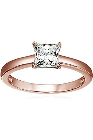 La Lumiere Rose -Plated Sterling Silver Swarovski Zirconia 1 cttw Princess Solitaire Ring