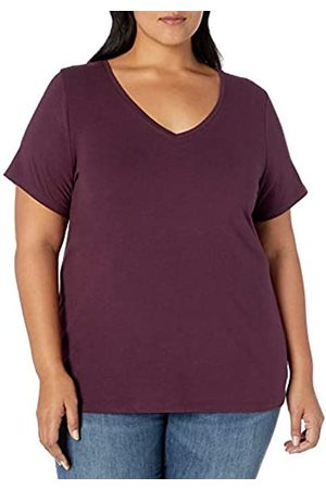 Amazon Plus Size Short-sleeve V-neck T-shirt Burgundy