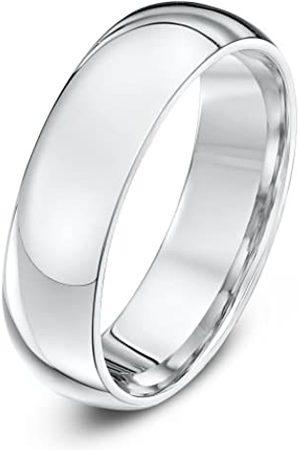 Theia Unisex Super Heavy Court Shape Polished 6 mm Platinum Wedding Ring - Size R
