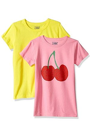 LOOK by crewcuts Girls' 2-Pack Graphic/Solid Short Sleeve T-Shirt Cherries/