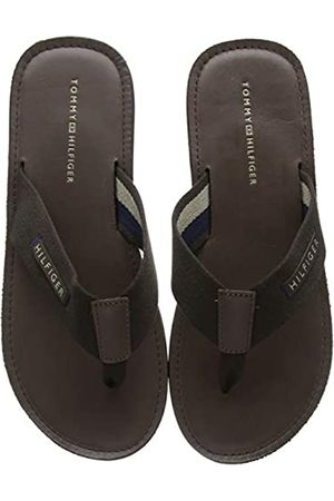 Tommy Hilfiger Men's Elevated Leather Beach Sandal Flip Flops, (Coffee Bean 212)
