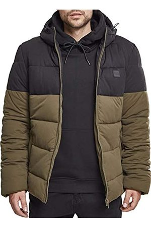 Urban classics Men's Hooded 2-Tone Puffer Jacket (darkolive/ 00795)