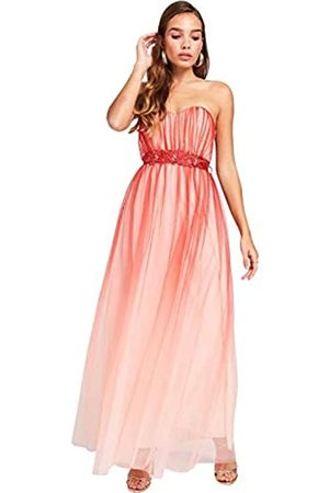 Little Mistress Women's Carissa Grapefruit Floral Belt Maxi Dress Party