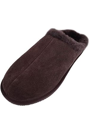 SNUGRUGS Men's Newbury, Sheepskin Mule Rubber Sole Open Back Slippers