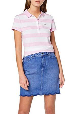 Tommy Hilfiger Women's New Chiara STR PQ Polo SS Shirt, (Gradient STP/ Lavender 706)