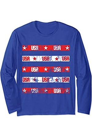 4th Of July Stars and Strings Guitar American Flag Youth Long Sleeve T Shirt