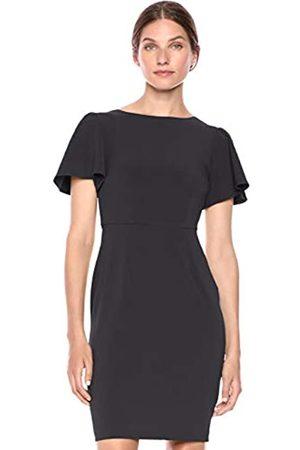 Lark & Ro Fluid Crepe Short Sleeve Flutter Dress Dark Navy