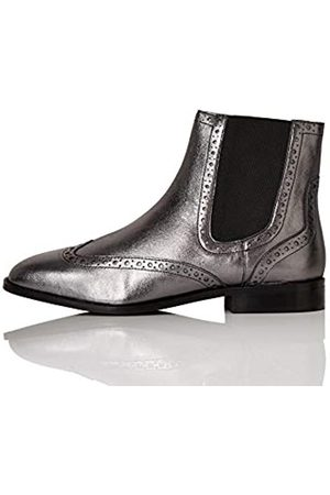 FIND Leather Brogue Chelsea Boots, Pewter Metallic