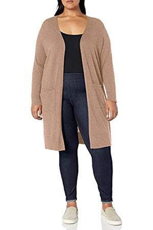 Amazon Essentials Plus Size Lightweight Longer Length Cardigan Sweater Camel Heather