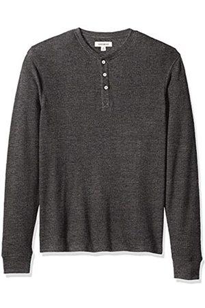 Goodthreads Men's Long-sleeve Slub Thermal Henley Shirt, (heather charcoal)