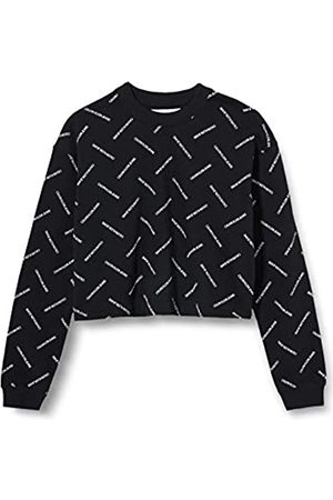 Calvin Klein Jeans Women's Diagonal Logo Cropped Crew Neck Sweater