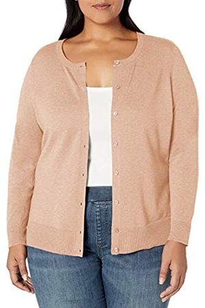 Amazon Essentials Plus Size Lightweight Crewneck Cardigan Sweater Camel Heather