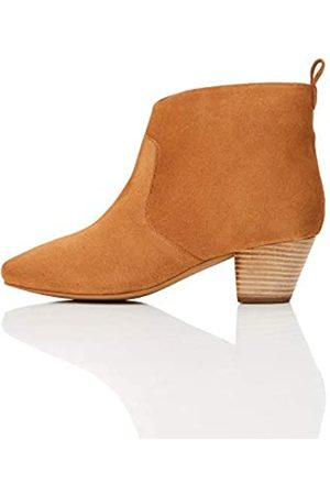 find. Leather Casual Western Ankle Boots, Caramel)