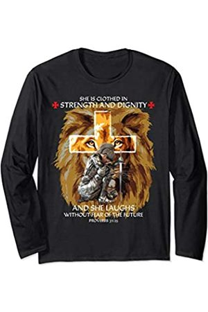 Christian Gifts by Alexis Mae Proverbs 31 Woman Christian Gifts Women Her Mom Lion Cross Long Sleeve T-Shirt