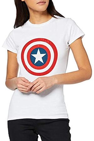 Marvel Women's Avengers Captain America Distressed Shield T-Shirt
