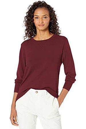 Daily Ritual Fine Gauge Stretch Crewneck Pullover Sweater Burgundy