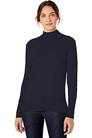 Lark & Ro Rib Detail Mock Neck Sweater Dark Navy