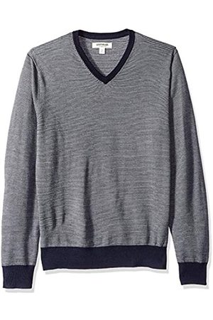 Goodthreads Men's Merino Wool V-neck Micro Stripe jumper Sweatshirt, (navy)