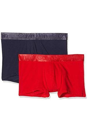 Calvin Klein Men's 2pk Swim Trunks, (DEEP Scarlet/ Noir DJL)