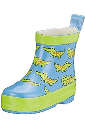Playshoes Unisex Kid's Wellies Rain Boot Crocodiles Wellington Rubber, (Blau 7)