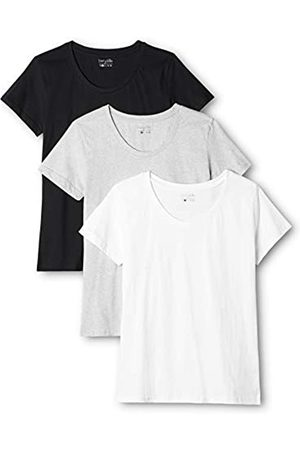Berydale 3-Pack Women's T-Shirt with round neck in various colours, Multicoloured-Mehrfarbig (Schwarz/Weiß/Grau)