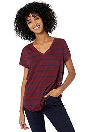 Goodthreads Washed Jersey Cotton Pocket V-neck T-shirt Bordeaux Open Stripe