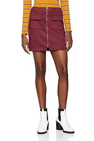 NEON COCO Women's Faux Suede Front Zip Mini Skirt