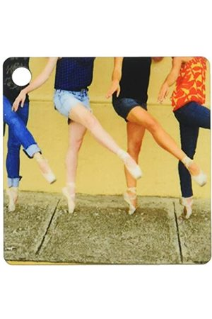 3dRose Photo Professional Ballerinas Dressed Up with Street Clothing But Wearing Ballet Shoes Keyring