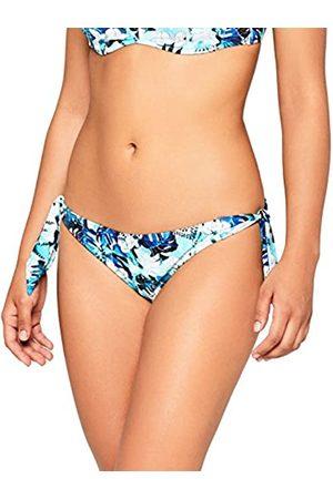 Iris & Lilly Women's Swimwear Tropical Print Side-bow Bikini Bottoms, ( Leaf)