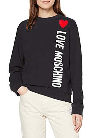Love Moschino Women's Long Sleeve Fleece Sweatshirt_Stripe Logo & Heart Print_Ribbed Bottom & Cuffs