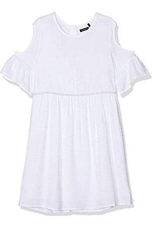Kiss IKKS Girls' Robe Blanche Epaule DENUDEE Manches A VOLANTS Party Dress