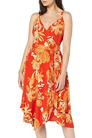 Dorothy Perkins Women's /Gold Press Strappy Print Hanky Hem Dress, ( 10)