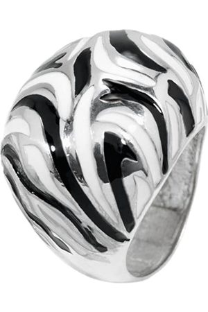 Carlo Monti Women's Domed Ring Rhodium-Plated 925 Sterling Lacquer Pattern JCM 102–129 17mm 0