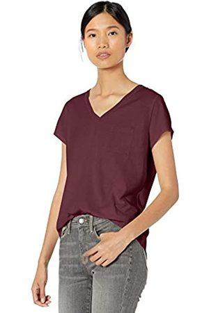 Goodthreads Washed Jersey Cotton Pocket V-neck T-shirt Bordeaux