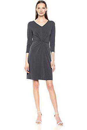 Lark & Ro Crepe Knit 3/4 Sleeve V-Neck Dress Ebony