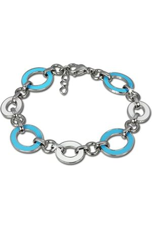 Amello Women's Bracelet Stainless Steel with Turquoise-White Enamel Inlay VESAG01T