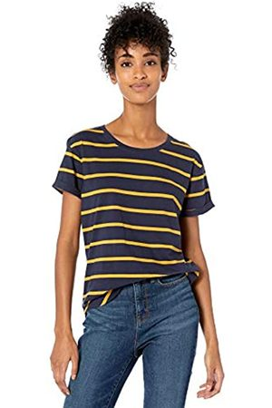 Goodthreads Washed Jersey Cotton Roll-Sleeve Open Crewneck T-Shirt Navy Stripe