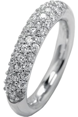 Carlo Monti Women's Ring Rhodium-Plated 925 Sterling Silver with 37 Zirconia JCM 101–121 5mm