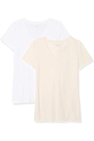 Amazon WAE45055SP18 Women's 2-Pack Short-Sleeve V-Neck Solid T-Shirt )
