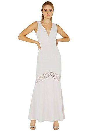 Little Mistress Women's Abbie Plunge Maxi Dress with Lace Insert, (Lilac)